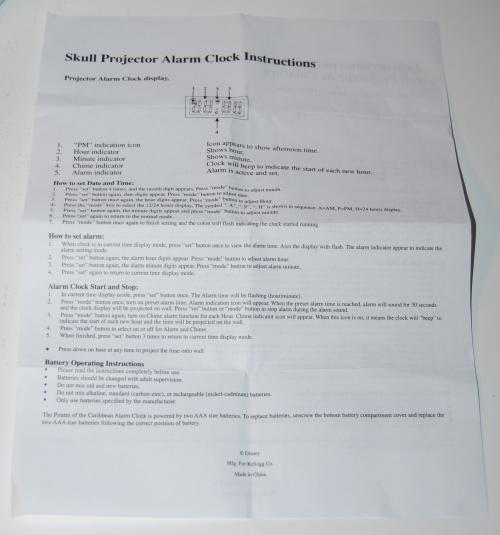 Skull projector clock instructions