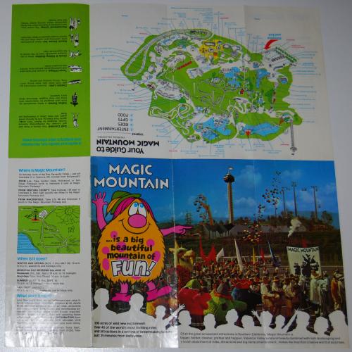 Vintage 1972 magic mountain map