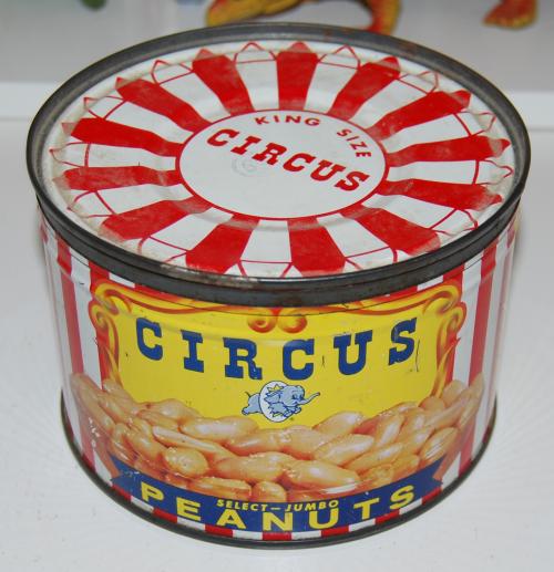 Vintage circus peanut tin