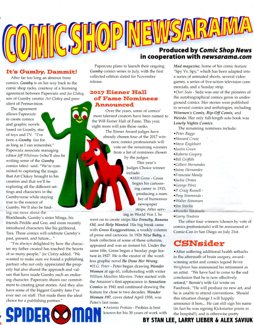 Comic shop news gumby 2017