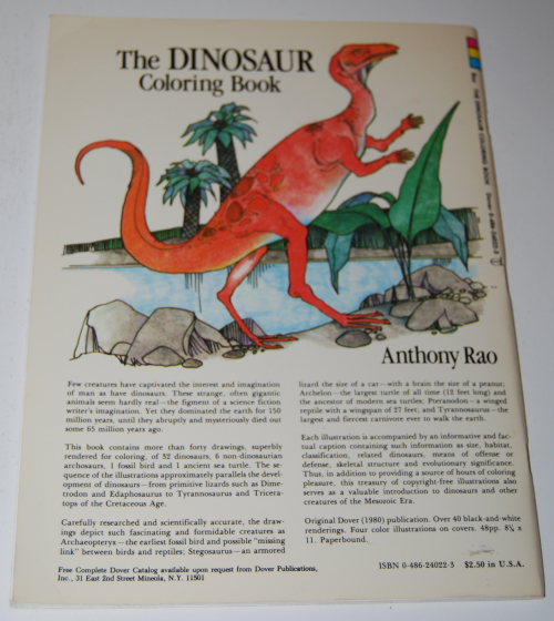 Dover dinosaur coloring book x