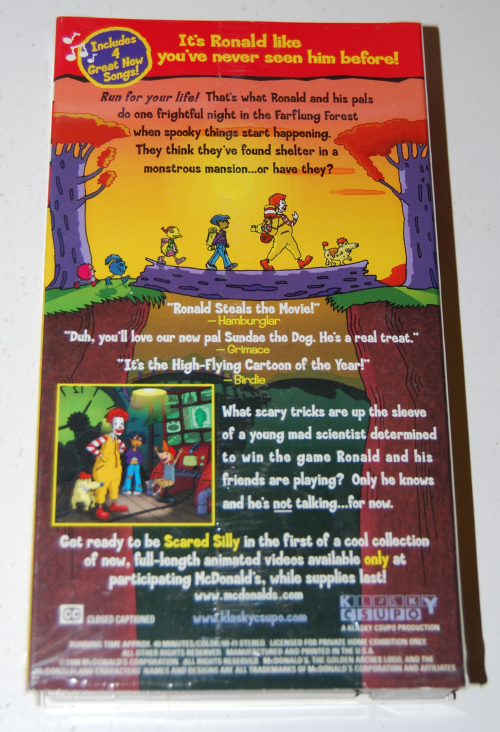 Ronald mcdonald scared silly vhs happy meal 1