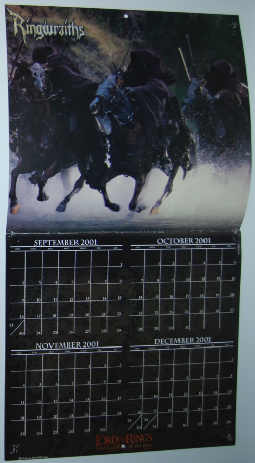 Lord of the rings 2002 calendar 1