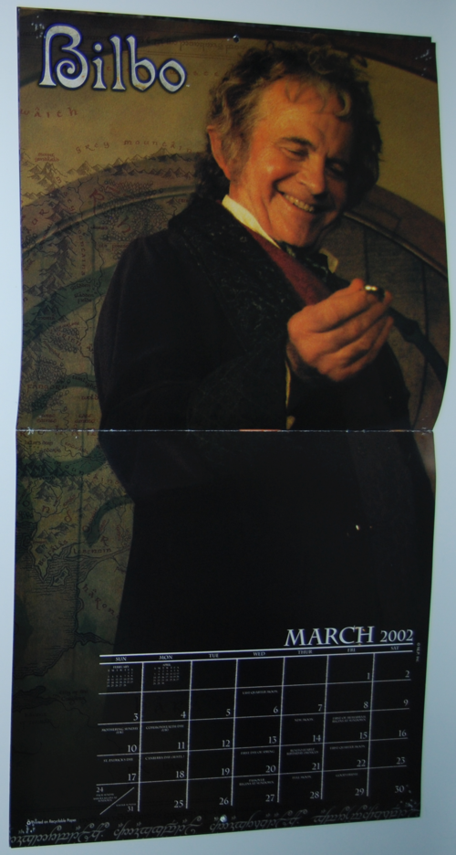 Lord of the rings 2002 calendar 2