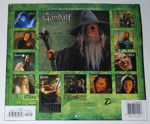 Lord of the rings 2002 calendar x