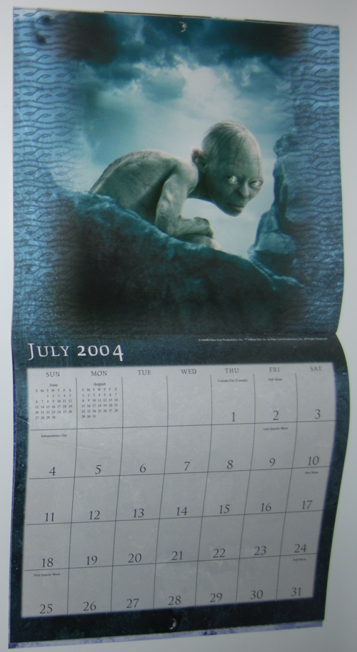 Lotr two towers calendar 2004 4