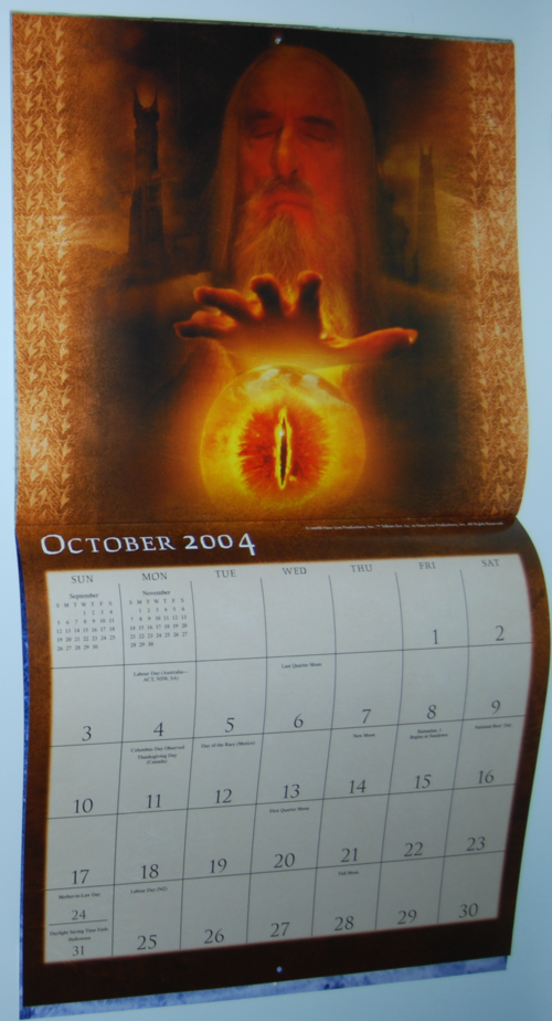 Lotr two towers calendar 2004 5