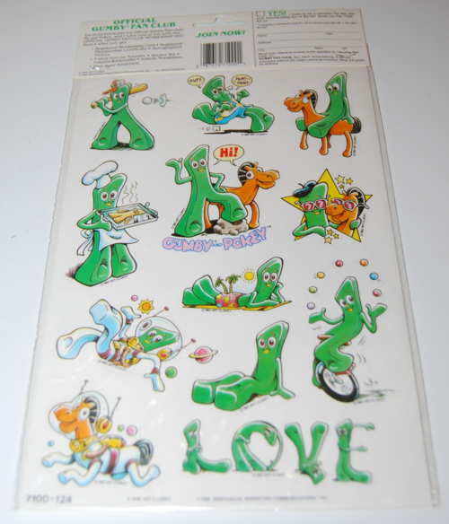 Gumby stickers art clokey 1986 5