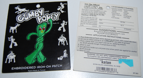Gumby embroidered patch 1996 x