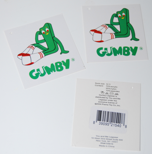 Gumby socks tags
