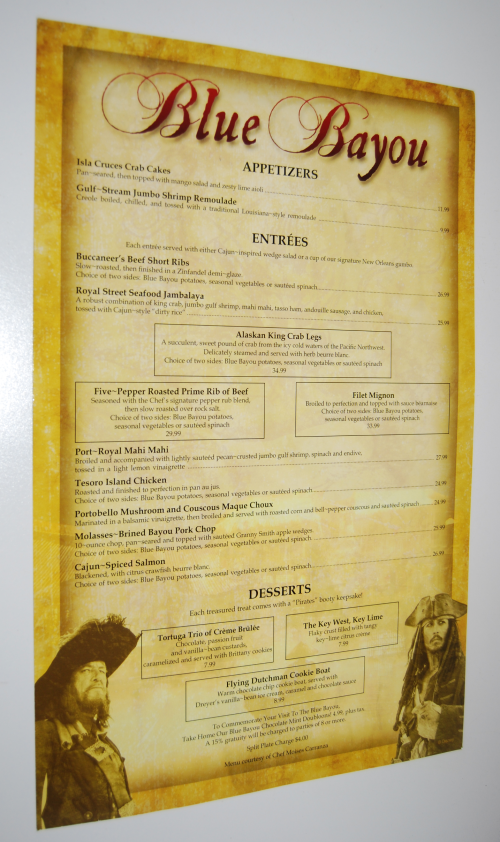 Blue bayou restaurant menu