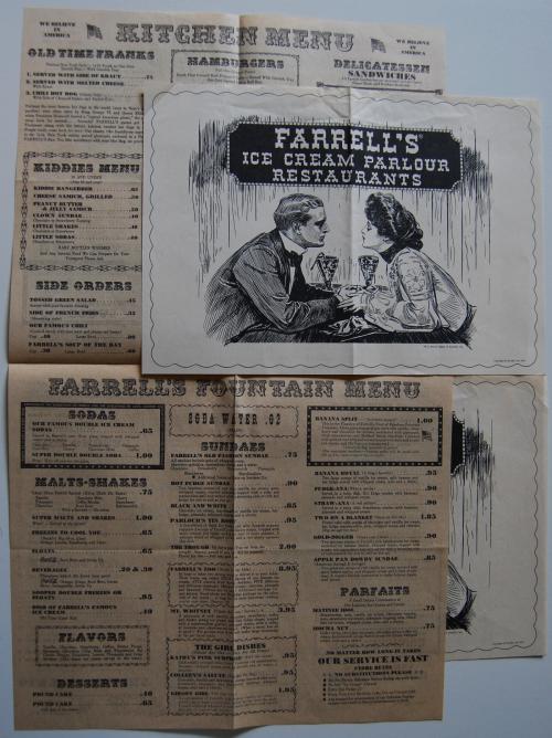 Vintage farrell's ice cream menu
