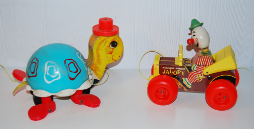 Vintage fisher price pull toys jalopy & turtle