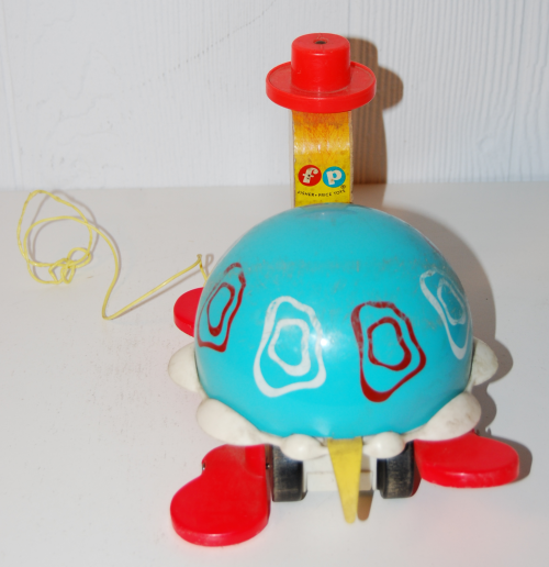 Vintage fisher price turtle pull toy a