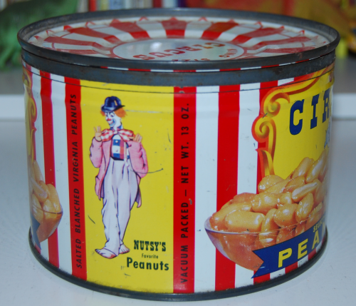 Vintage circus peanut tin x