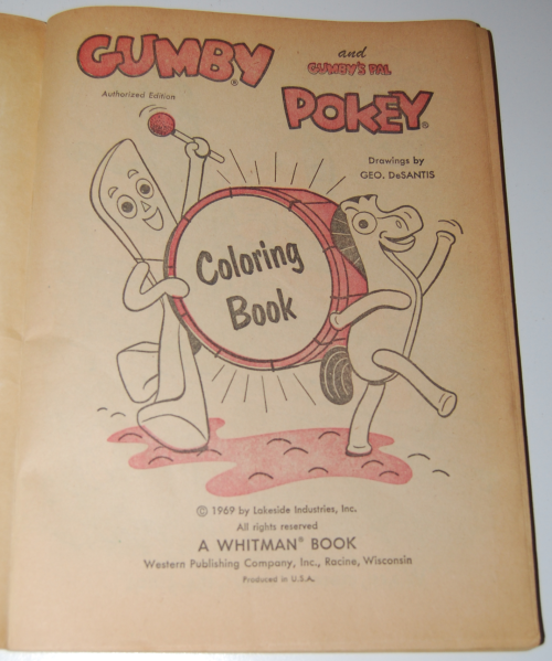 Gumby & pokey coloring book whitman 1969