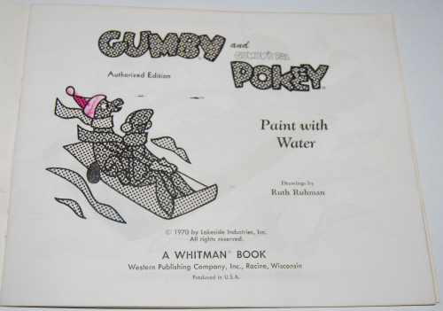 Gumby paint with water book whitman 2