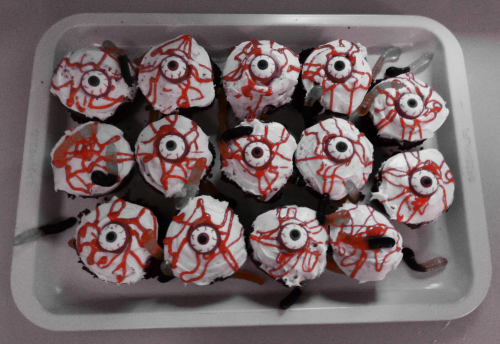 Crawling with worms eyeball cupcakes x