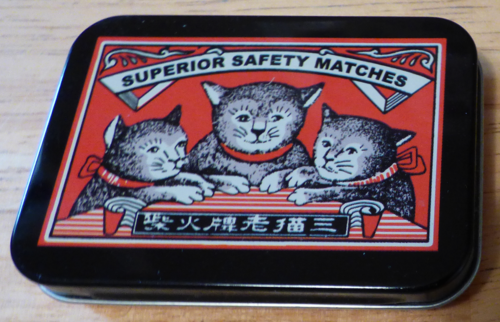 Matches cat tin