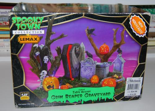Lemax spooky town grim reaper graveyard
