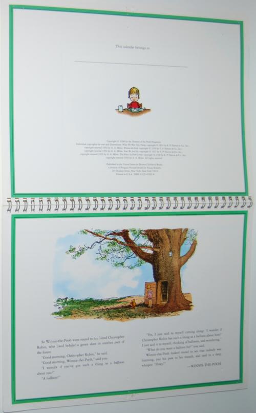 Winnie the pooh 1999 calendar 1