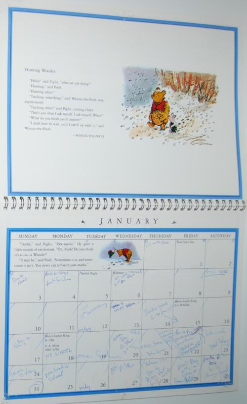 Winnie the pooh 1999 calendar 2