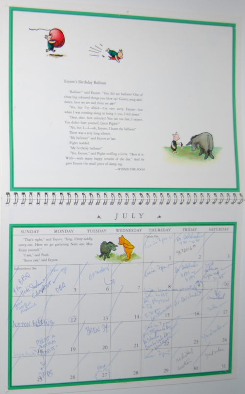Winnie the pooh 1999 calendar 4