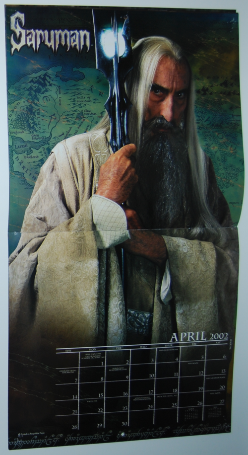 Lord of the rings 2002 calendar 3