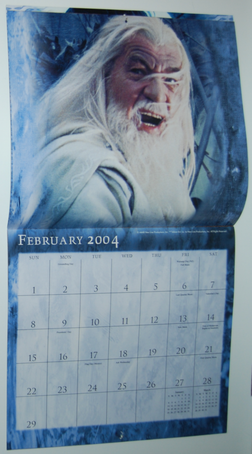 Lotr two towers calendar 2004 2