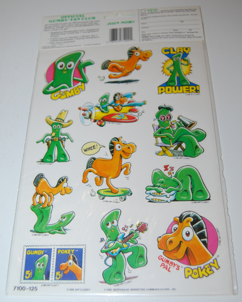 Gumby stickers art clokey 1986 1