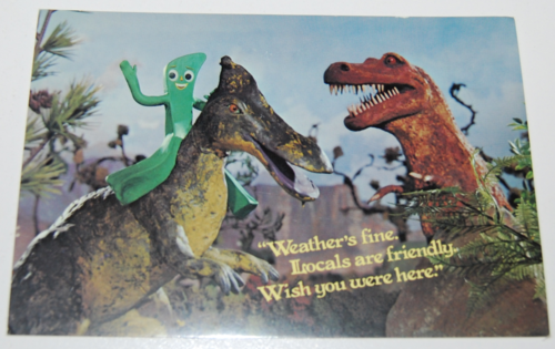 Gumby dinosaur postcard