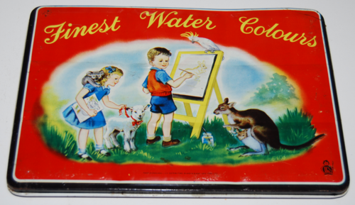 Vintage water colors tin