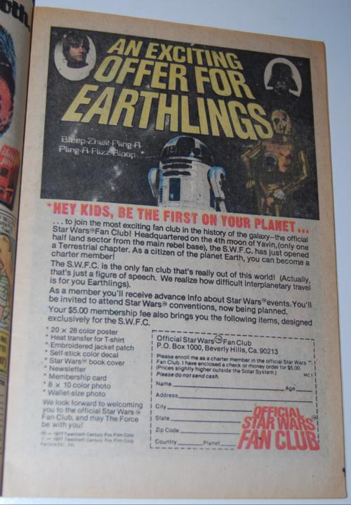 Vintage star wars fan club ad
