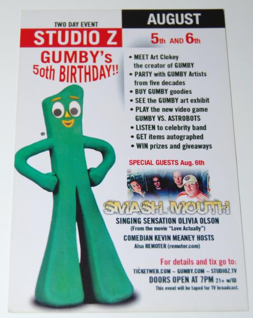 Gumby 50 years postcard x