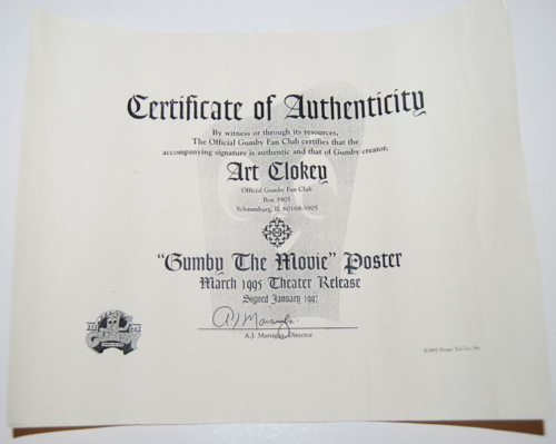Cert of auth gumby movie poster