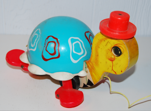 Vintage fisher price turtle pull toy b