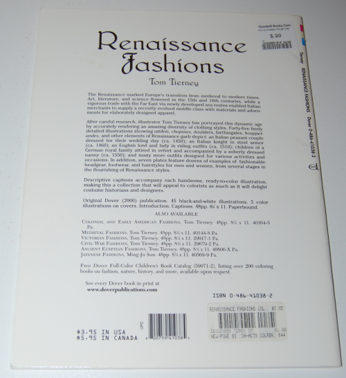 Dover renaisance fashion coloring book x