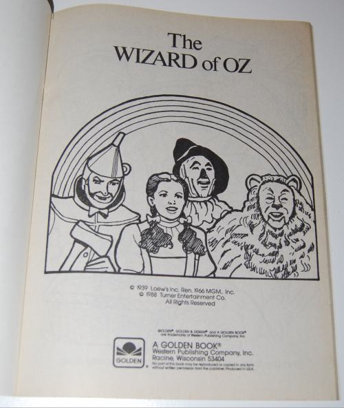 Wizard of oz golden coloring book 1