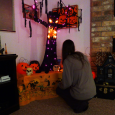 altar to halloween <br>(some people have a xmas tree, we have a halloween tree..)