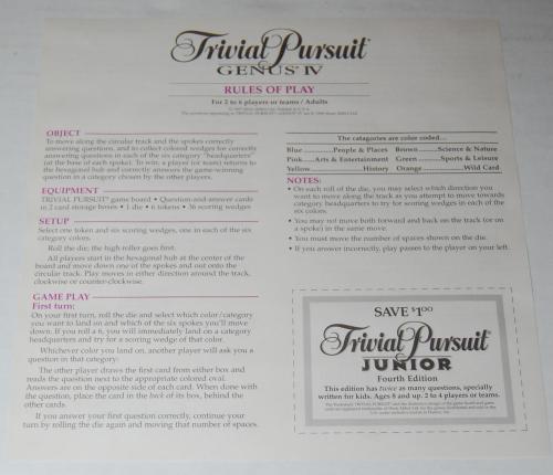Trivial pursuit board game genus 4 2