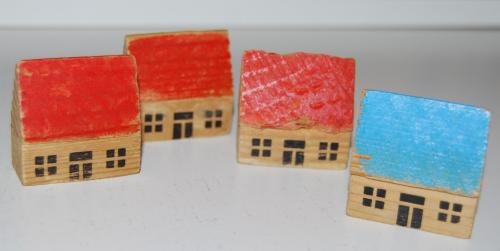 Vintage east germany wooden toy buildings 1