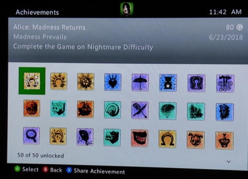 Xbox achievements alice