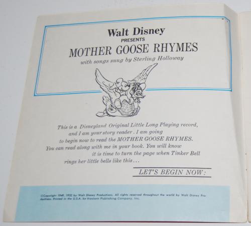 Disney mother goose rhymes vinyl record 1