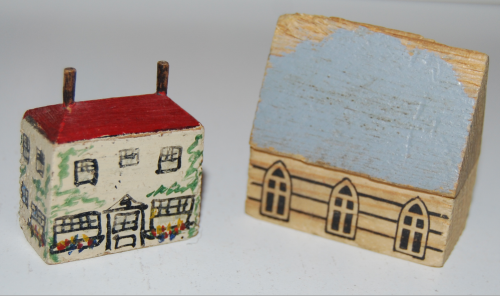 Vintage east germany wooden toy buildings x