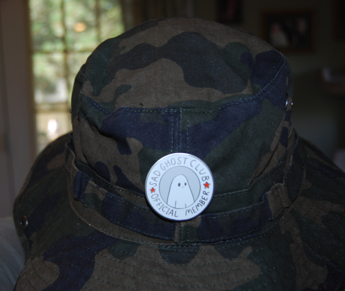 Sad ghost club hat pin