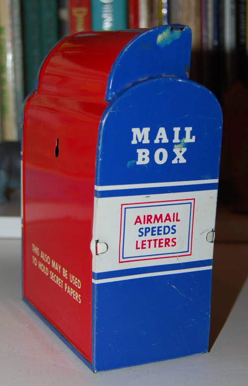 Vintage tin toy mailbox bank 2