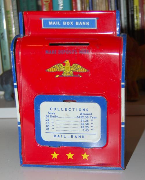 Vintage tin toy mailbox