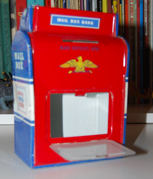 Vintage tin toy mailbox bank 1