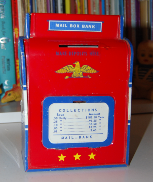 Vintage tin toy mailbox bank