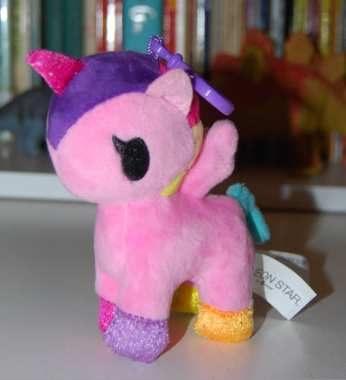 Neon star unicorn plush key clip